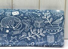 Animal tea time 100% Cotton fabric Oxford / Fox teacup butterfly Blue FO197-