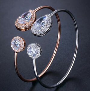 Special Teardrop Round White Topaz Silver Rose Gold Plated Banglel Adjustable