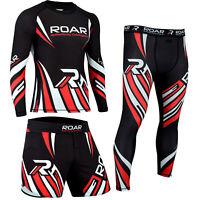 ROAR MMA Grappling Rash Guard & BJJ Training Shorts NoGi Set Jiu Jitsu Leggings