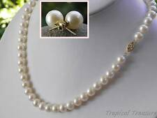 "8-9mm 20"" AAA Grade (14k Solid Gold) White Cultured Pearl Set"
