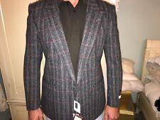 Sergio Valentino Italian Mens Slim Fit Check Wool Blazer Sports Jacket size 46