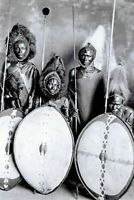 Postcard Four Masai Warriors in Full War Dress, Kenya, Africa 53L