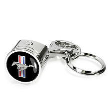 Chrome Finished Metal Piston Key Chain - Ford Mustang Tri-Bar