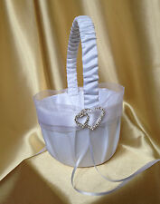 PRETTY WHITE & DIAMANTE DOUBLE HEARTS FLOWER GIRL BASKET/WEDDING ACCESSORY