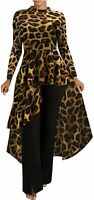 Womens High Low Dress - Fashion Elegant, 01 Long Sleeve - Leopard, Size X-Large