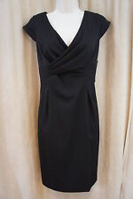 AK Anne Klein Dress Sz 8 Solid Black Cap Sleeve V Neck Business Evening dress