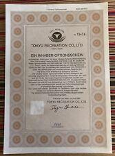 """#OS39 Kleinposten 10x """"Tokyo Recreation Co. Ltd."""" 1er Optionsschein WKN 881870"""