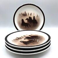 "Wild Horses Big Sky Lodge Stoneware Collection 7 3/4"" Salad Plates Set of 4"