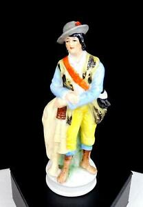"""GERMAN PORCELAIN MAN WITH BAGPIPE IN BLUE AND YELLOW 4 5/8"""" FIGURINE 1920's"""
