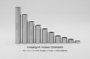 Edelstahl Distanzhülsen, ohne Innengewinde, bis M12 durchsteckbar, 16x13x1,5 mm