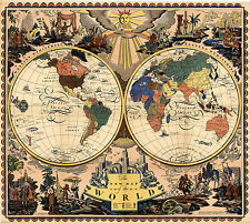 1928 Map of the World Two Hemispheres Wall Art Poster Print Decor Vintage