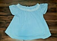 Cable and Gauge Nordstrom Womens Light Blue Pullover Casual Soft Blouse Shirt