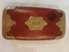 antikes Zigarrenetui Leder mit Messingmontur um 1900 Adelswappen