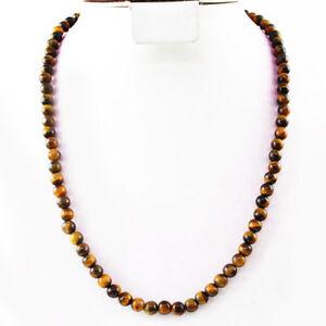 Single Strand Necklace \u2013 6687 Tiger\u2019s Eye Beaded NecklaceRound Tiger\u2019s Eye Beads