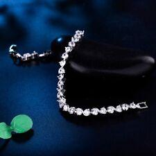 "Silver Gold Filled Round Swarovski Rhinestone Beaded Crystal Chain Bracelet 8.0"""