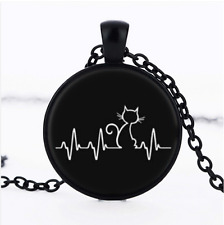 Cat is my Heartbeat Cabochon Glass Black Pendant Necklace#CI29