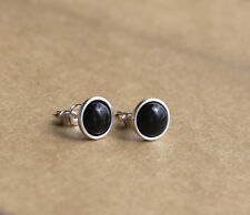 925 Sterling silver stud earrings with natural  Black Onyx gemstones
