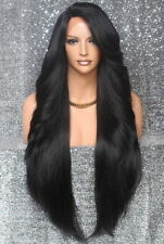 """38"""" Long Human Hair Blend Full Lace Front Wig Heat OK Off Black WEPC 1B"""