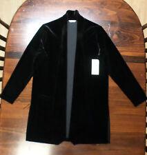 "Laura Ashley Jacket-Black Velveteen-Small-Unlined Coat--34""--Open Front-New-$118"