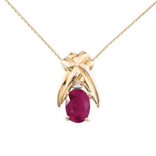"""14k Yellow Gold 7x5mm Oval Ruby and Diamond Pendant with 18"""" Chain"""