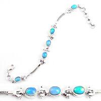 10.61cts Natural Multi Color Ethiopian Opal 925 Silver Tennis Bracelet P54741