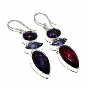 "Amethyst, Garnet Gemstone Handmade Ethnic Jewelry Earrings 2.2"" SJ-3823"