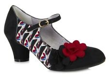 Ruby Shoo Mia Black/Red Low Heel Mary Jane Shoes
