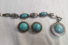 Vintage Unsigned Silver Tone & Turquoise Bracelet and Earrings Set LOOK!!