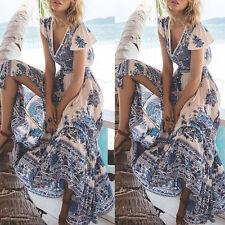 femmes été maxi longueur robe cocktail soirée plage mousseline de soie soleil