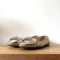 Miu Miu Prada UK 4 EU 37 Jewelled Gold Glitter Ballet Shoes Pumps RRP £450.00