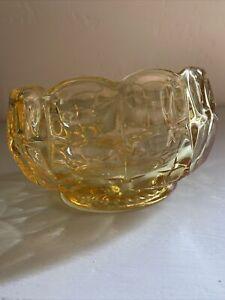 Vintage yellow depression glass Trinket bowl cubed optic