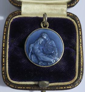 Médaille pendentif ancien PENIN Vierge Christ émail argent massif enamel charm