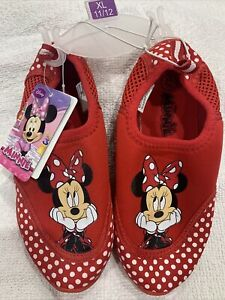 Kids Red Disney Minnie Mouse Water Swim Shoes Brand New With Tags Size 11 / 12