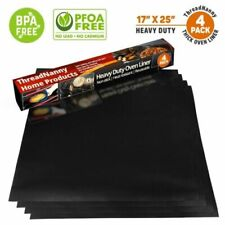 """Pack 4 Large Thick Non Stick Oven Liners Mat Heavy Duty Teflon,17""""x 25""""Pfoa Free"""