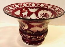 Awesome Vintage Castle Stag Bohemian Eggerman Ruby Cut to Clear Center Bowl