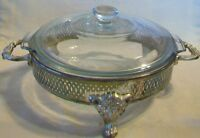 Clear Glass Casserole Bowl with Lid and Silverplated Serving Stand