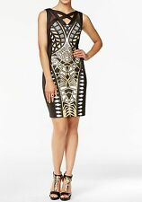 NWT THALIA SODI FOR MACY'S METALLIC GEO-PRINT CUTOUT SHEATH DRESS M