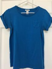 Chico's Women's Size 0 Short Sleeve Blue t-shirt - Pocket Button Sleeves