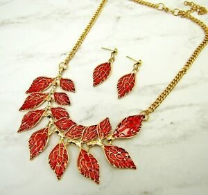 Red Enamel Leaf Necklace and Earrings Set with Gold Trim - NEW
