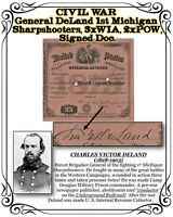 CIVIL WAR Gen. DeLand, 1ST MI, POW & WIA, Abolitionist & Underground RR Doc