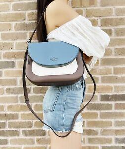 Kate Spade Leila Flap Medium Shoulder Bag Blue Taupe Beige Colorblock Crossbody