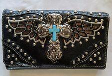 Women's Laser Cut Western Turquoise Silver Cross Black Studded Wallet (A)