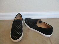 Corso Como Sunday Slip-On Sneaker Black Perforated Suede W/ Silver Women Size 8M