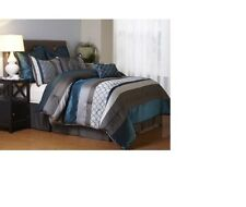 Luxurious Elegant Soft  8-Piece Peacock Teal  Bedding Comforter Set New.