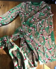 Nick & Nora Christmas Santa Sock Monkey Pajamas One Piece Footed PJ Medium Green
