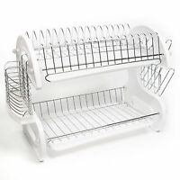 Home Basics White 2 Tier Kitchen Sink Dish Drainer Set