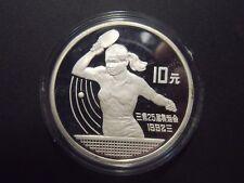 China - 10 Yuan - 1991 - Silber - PP - Tischtennis
