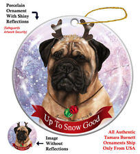 Holiday Pet Fawn Bullmastiff Reindeer Dog Porcelain Christmas Ornament
