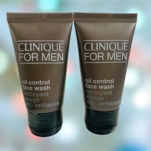 2 x Clinique For Men Oil Control Face Wash 30ml (60ml) - New - Free P&P