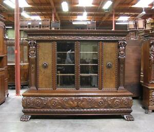 Large Antique Carved German Bookcase w/ Man Of The Mountain Figures